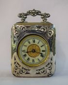 Vintage English Silver and Leather Cased Carriage Clock