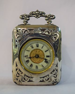 Vintage English Silver and Leather Cased Carriage Clock  C