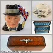 Sir Winston Churchill Character Jug - Breakfast Cup and Saucer -  Victorian Glove Box