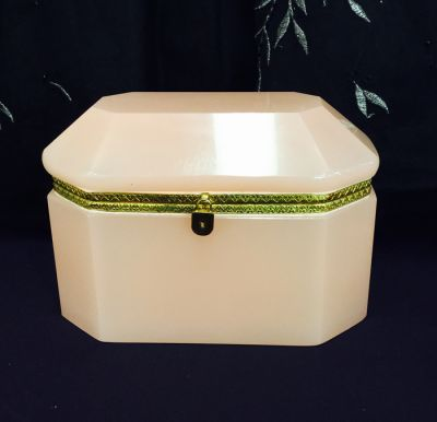 Vintage French Pink Opaline Box with Gilt Metal Trim and Faux Lock Decoration