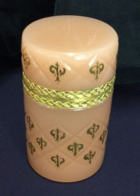 Vintage French Pink Opaline Cylindrical Box