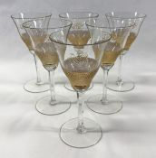 Vintage Gilded and Cut Crystal Wine Glasses