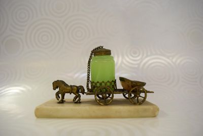 Vintage Green Opaline and Mother of Pearl Perfume on Stone Plinth - 1