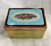 Vintage Guilloche Enamel Brass and Copper Box