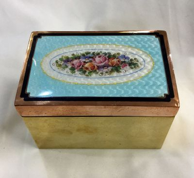 Vintage Guilloche Enamel Brass and Copper Box 2