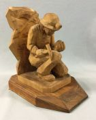 Vintage Hand Carved Basswood Sculpture With Canadian Provenance
