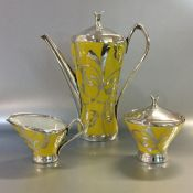 Vintage Hutschenreuther Silver Overlay on a Yellow Porcelain Three Piece Coffee Set