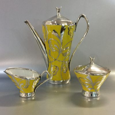 Vintage Hutschenreuther Silver Overlay on a Yellow Porcelain Three Piece Coffee Set a