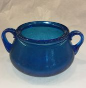 Vintage Iridescent Blue Art Glass Two Handled Bowl