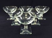 Vintage Lalique Crystal Champagne Coupes In The Argos Pattern