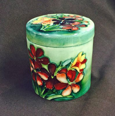Vintage Moorcroft Spring Flowers Pattern Cylindrical Box