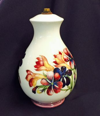 Vintage Moorcroft Spring Flowers Pattern Lamp Base