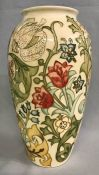 Vintage Moorcroft Vase, Golden Lily Ivory Background