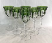 Vintage Peill & Putzler Cut Crystal Hock Wine Glasses in the Rheinland Pattern