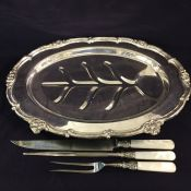 Vintage Platter & Antique Carving Set