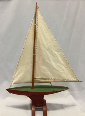 Vintage Pond Boat With Cloth Sails