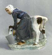 "Vintage Royal Copenhagen figurine ""Girl With Calf"""