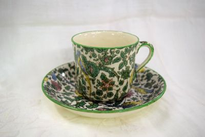 Vintage Royal Doulton Persian Parrot Chintz Pattern D3550 Cup and Saucer  As Found