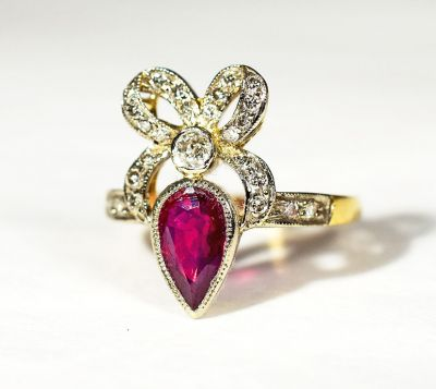 Vintage Ruby and Diamond Ribbon Bow Ring
