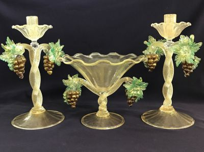 Vintage Salviati Murano Centrepiece Pedestal Bowl With Matching Candlesticks 9
