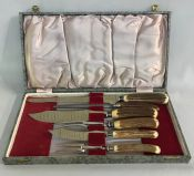 Vintage Sheffield Steel 6 Piece Carving Set With Stag Handles