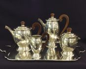 Art Deco Silver Plate 4 Piece Tea & Coffee Set & Tray
