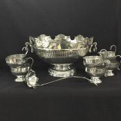 Vintage Silver Plate Punch Bowl, Ladle & Cups
