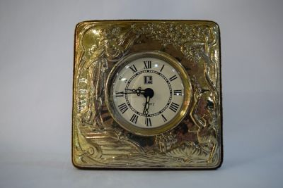 Vintage Silver and Velvet Cased Dresser Clock
