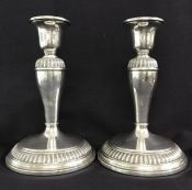 Vintage Sterling Silver Candlesticks With Gadroon Border