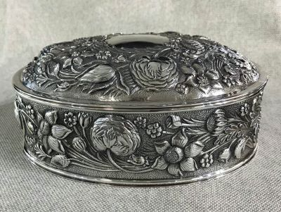 Vintage Sterling Silver Oval Jewel Box With Gilt Interior 5