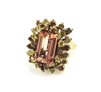Vintage Tourmaline and Irradiated Diamond Cluster Ring