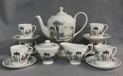 Vintage Tuscan Bone China Coffee Set In The Olympus Pattern