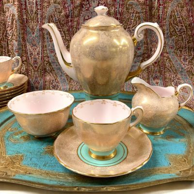 Vintage Tuscan Fine English Bone China Coffee Set, circa 1950s