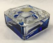 Vintage Val St. Lambert Blue and Clear Crystal Cigarette Box/Ashtray