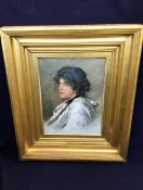 Water colour portrait of a lady, signed Alessandro Zezzos