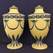 Wedgwood Yellow Dip Jasperware Covered Urns