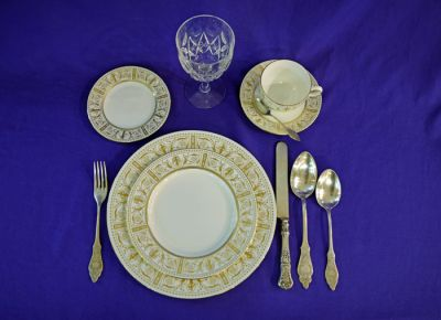Wedgwood    Gold Grecian    Place Setting  Stuart    Park Lane    Wine Glass  1955-1968  European Silver Plate Flatware  and Gorham    Richmond    Pattern Knife