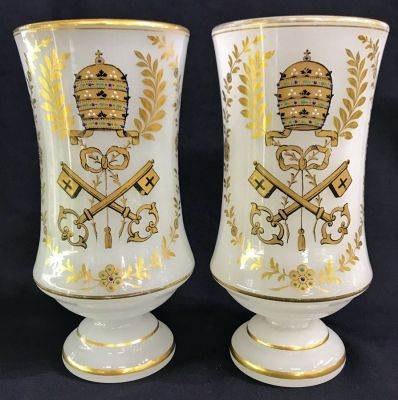 White Opaline Vases With Gilding   Enamelling b