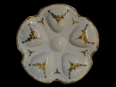 White and Gold Limoges Oyster Plate  Oy003