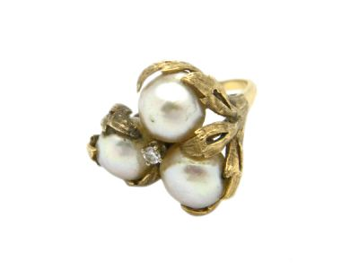 Yellow Gold Baroque Pearl and Diamond Ring PlR004 1 NA