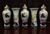 Early 20th Century Tobacco Leaf Pattern Hand Painted Porcelain Five-Piece Garniture