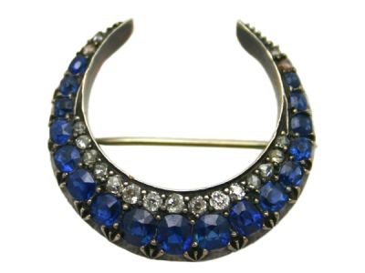Brooch 9 kt Gold and Silver Top Sapphire and Diamond