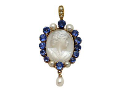 sapphires/Pendant 14 kt Gold Sapphire  Moonstone and Pearls 63324 1