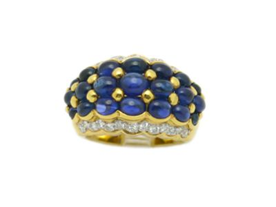 sapphires/Ring 18 kt Gold Sapphire and Diamond 64755 1