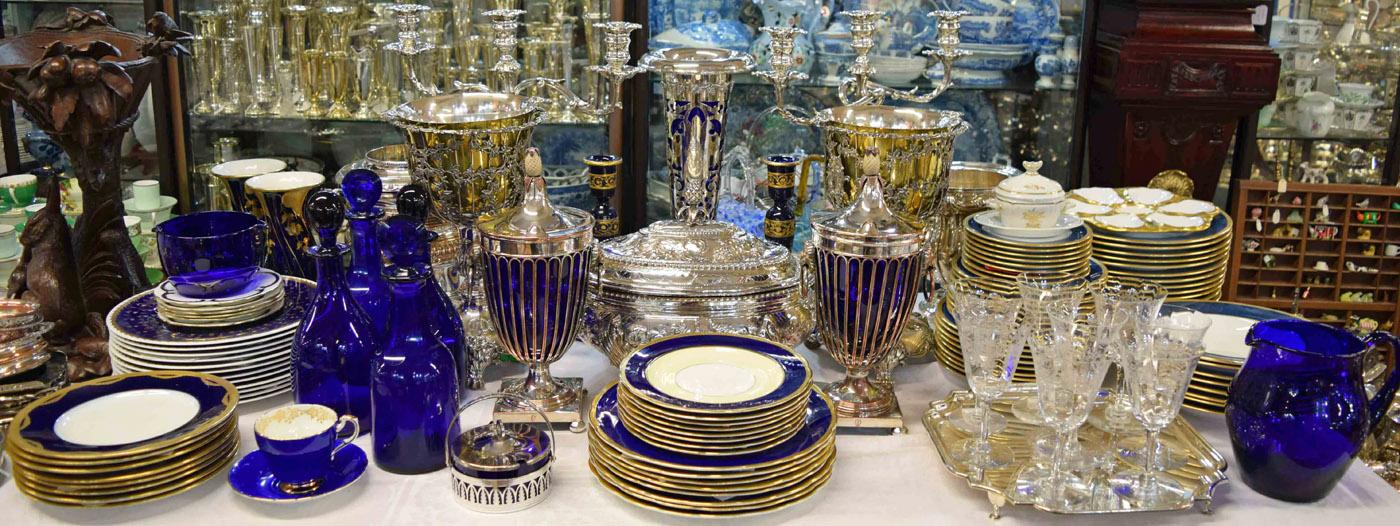 antique vintage sterling silver colbolt blue decor - Antique Decor