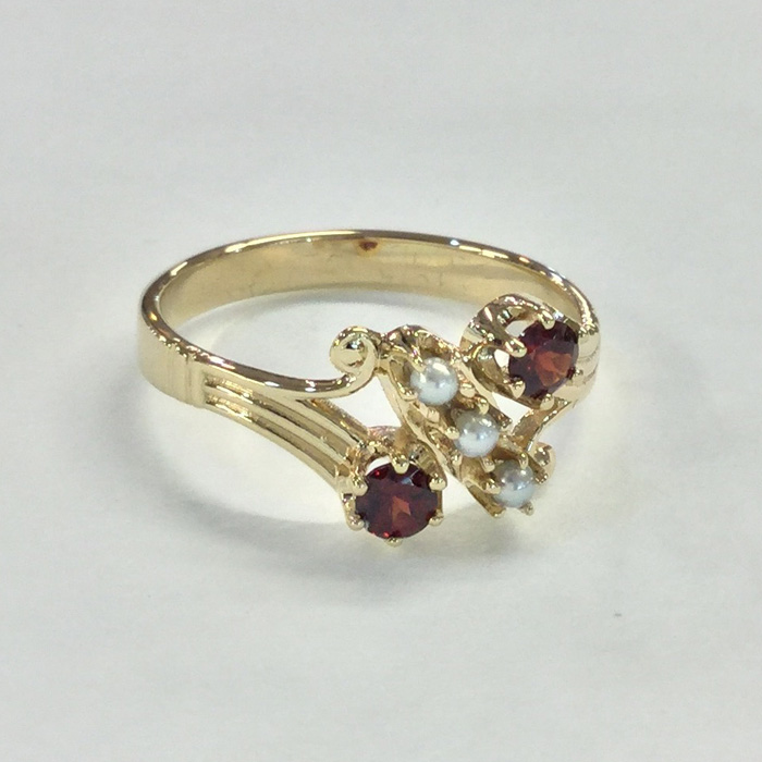 Custom Yellow Gold Garnet and Pearl Antique Style Ring Designed By Cynthia Findlay Antiques Toronto 1