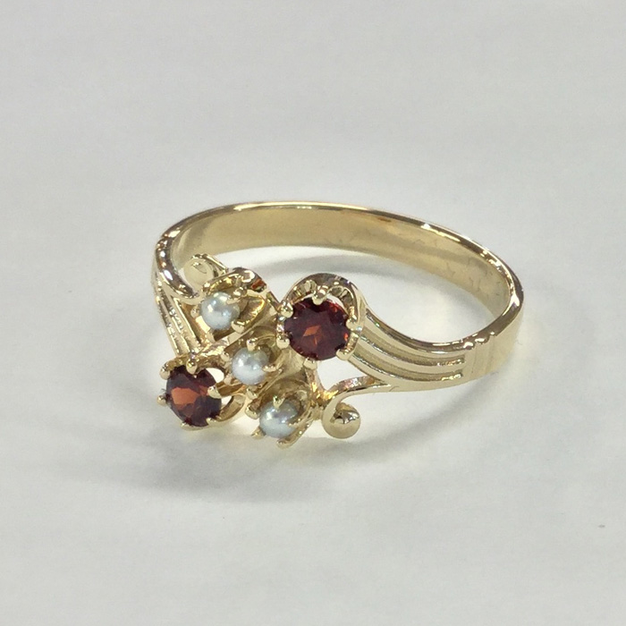 Custom Yellow Gold Garnet and Pearl Antique Style Ring Designed By Cynthia Findlay Antiques Toronto 2