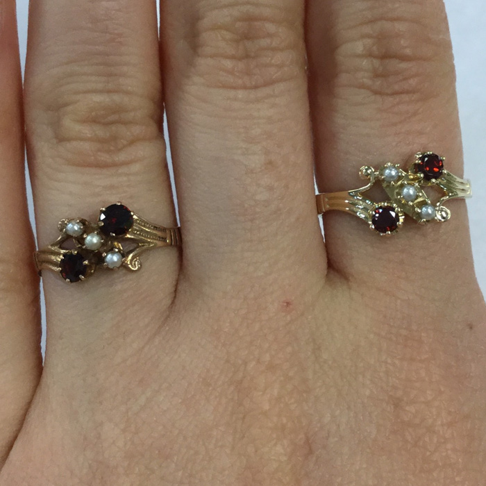 Custom Yellow Gold Garnet and Pearl Antique Style Ring Designed By Cynthia Findlay Antiques Toronto