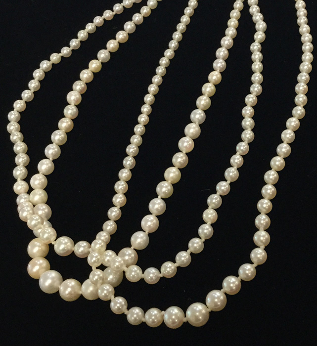 vintage graduated double strand pearls