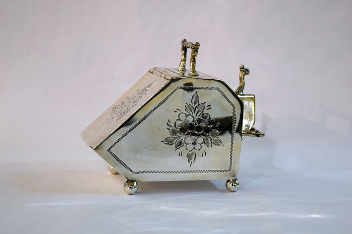 Victorian English Silver Plate Coal Scuttle Sugar Bowl with Scoop 2